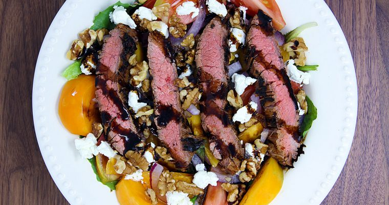 Steak Salad with Heirloom Tomatoes and Goat Cheese