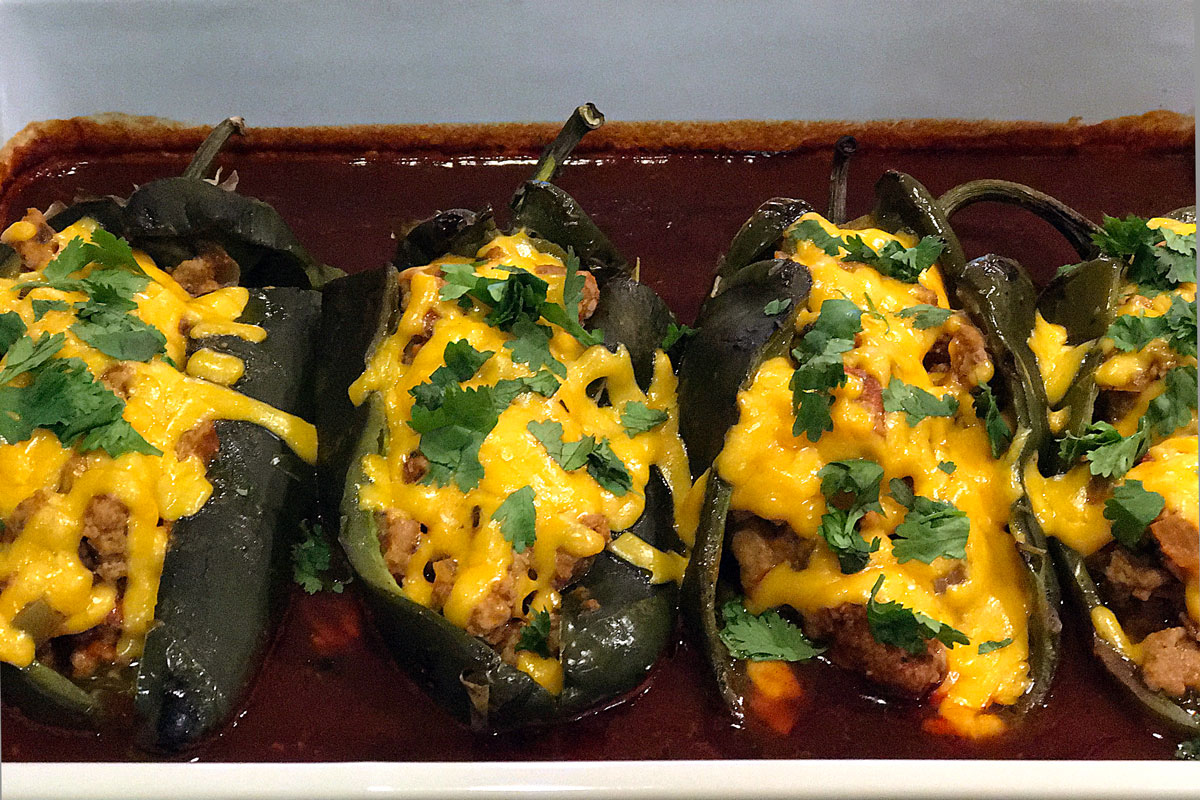 Turkey Enchilada Stuffed Poblanos