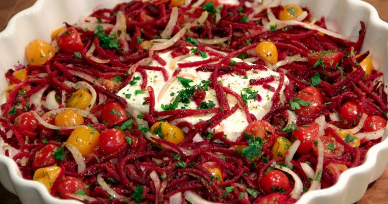 Spiralized Mediterranean Beet and Feta Skillet Bake