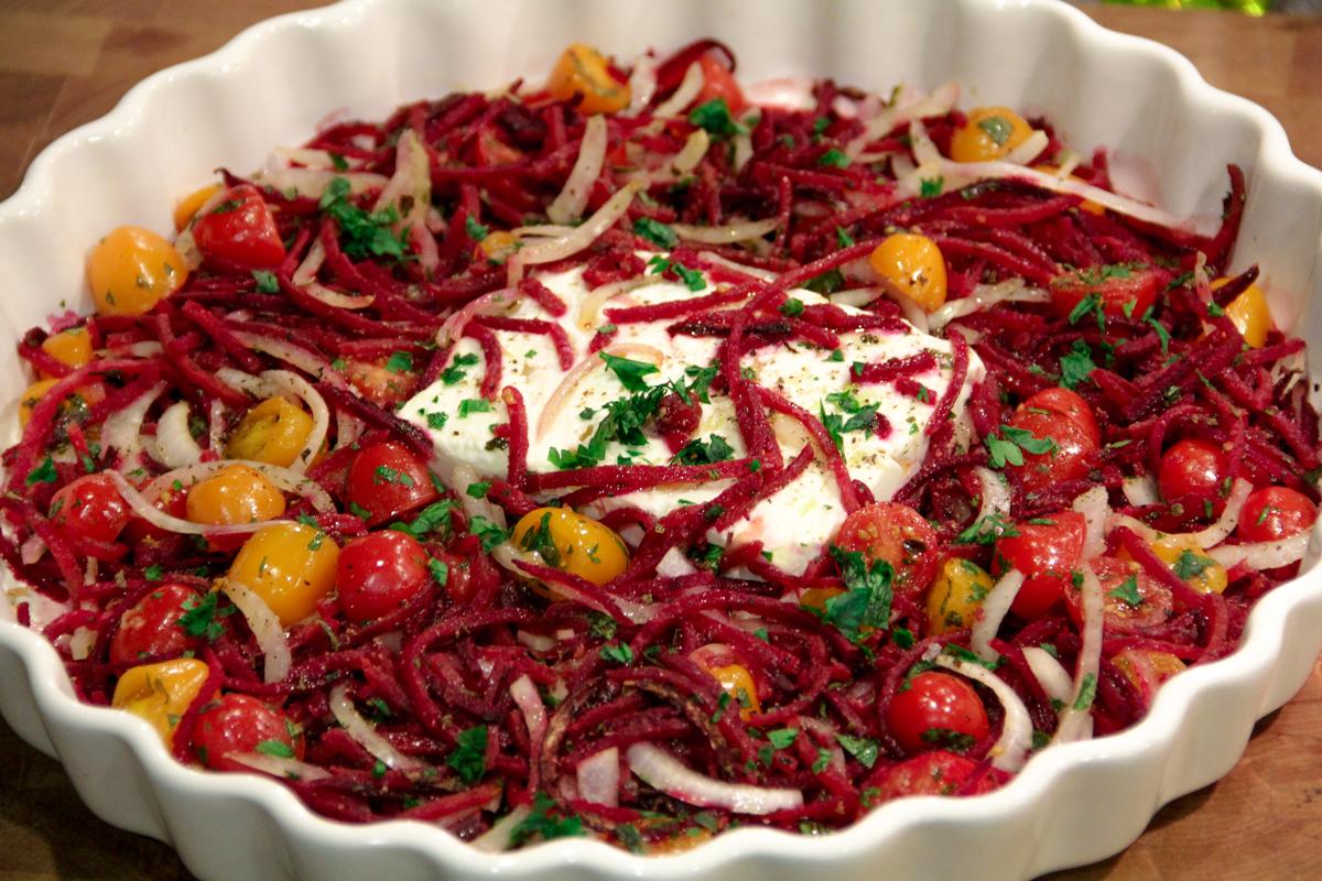 Spiralized Mediterranean Beet and Feta Skillet Bake